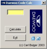 Программы для тюнинга (разблокировка кода радио), daewoo code calc