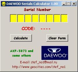 Программы для тюнинга (разблокировка кода радио), daewoo serials calculator v100