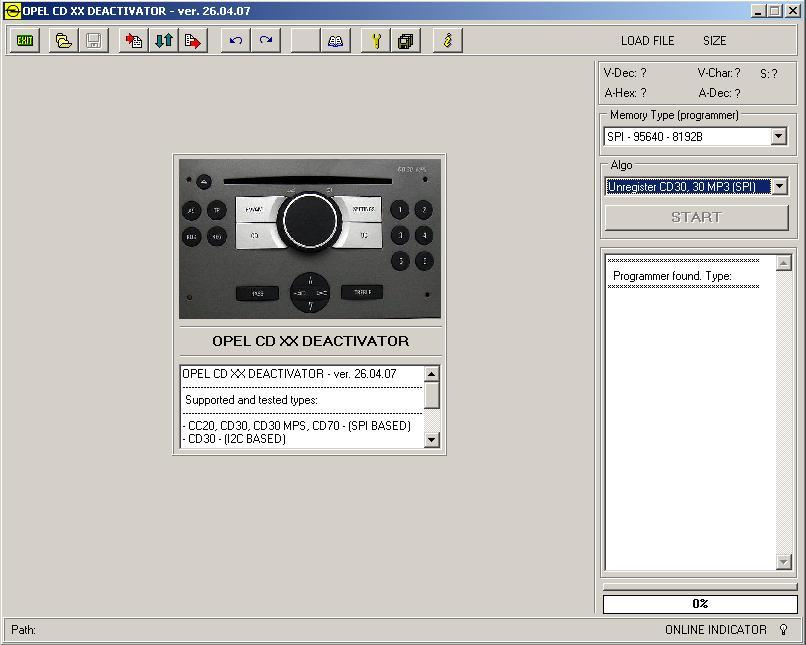 Программы для тюнинга (разблокировка кода радио), opel cd xx deactivator v260407