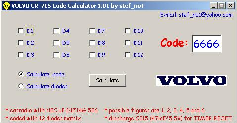 Программы для тюнинга (разблокировка кода радио), volvo cr 705 code calculator