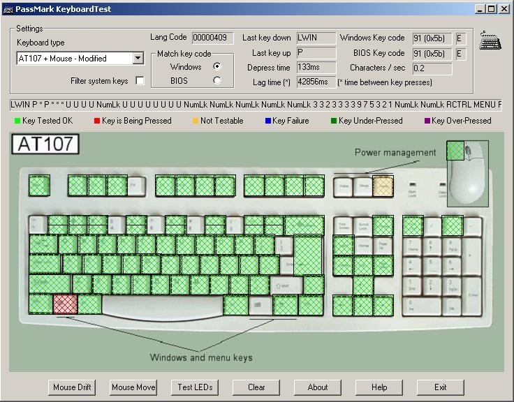 Тест новой, но - неисправной клавиатуры программой PassMark KeyboardTest.
