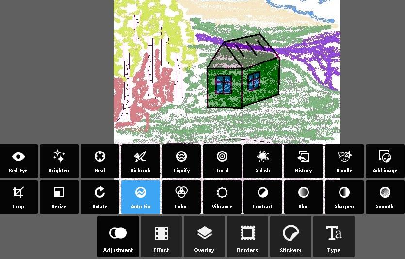 Исправление потери цветов в результате наложения рисунков в онлайн фото / редакторе pixlr express.
