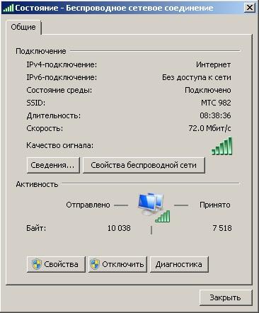 Сигнал встроенного WiFi роутера MTC 982, исправный сигнал