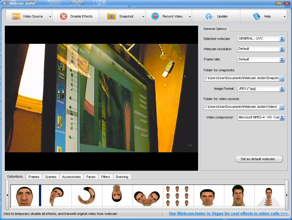 Софт на ПК для веб-камер и видеорегистраторов, программа : Webcam Jester.
