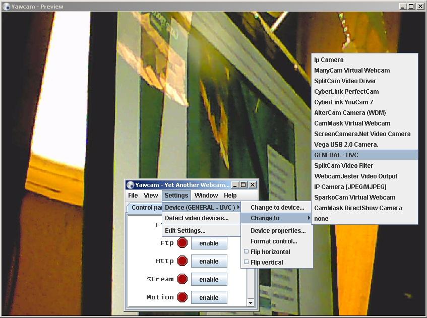 Софт на ПК для веб-камер и видеорегистраторов, программа : YawCam.