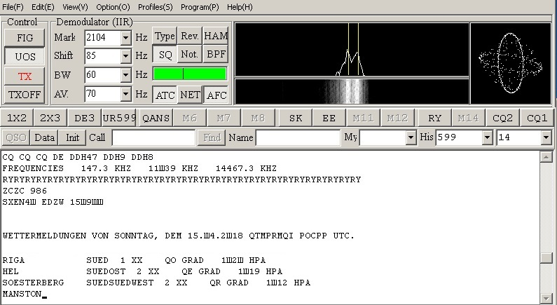 RTL-SDR, прием RTTY / MMTTY, DWD 2 Pinneberg - правильные настройки