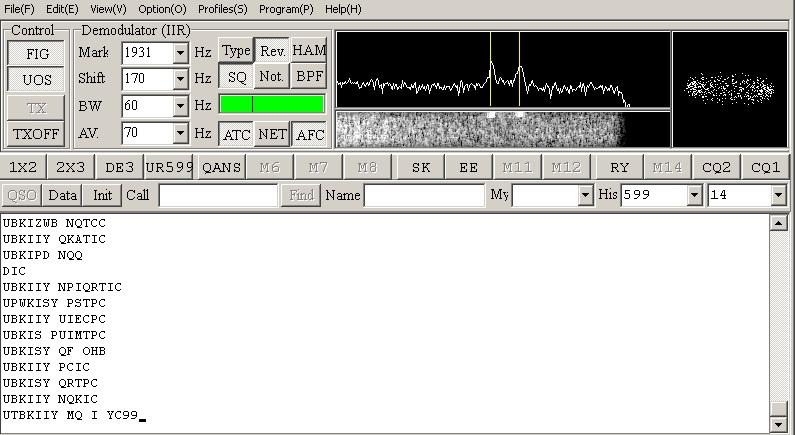 RTL-SDR, прием RTTY / MMTTY, пример неопознанной станции