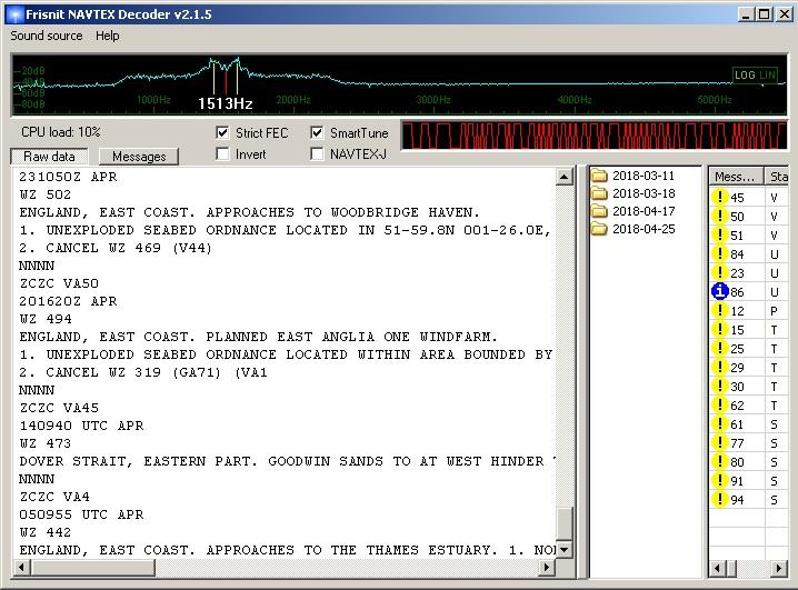 Navtex, пример приема сообщений онлайн WebSDR цифровым приемником.