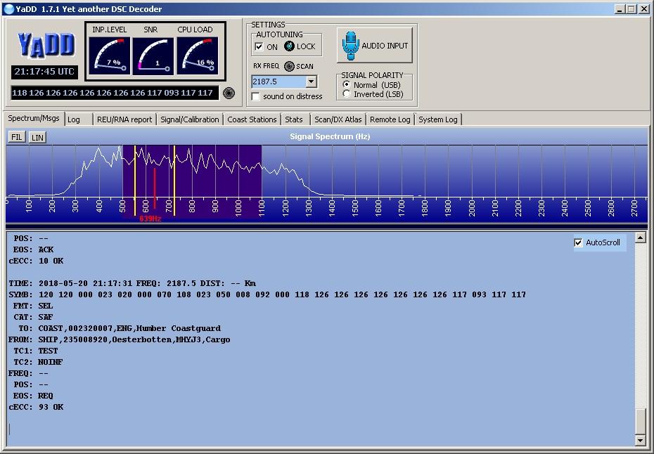 Программа YaDD / Yet another DSC Decoder, прием DSC сообщений
