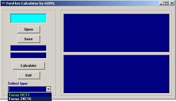 Программы для тюнинга (коррекция пробега панели), ford km calculator by gopel