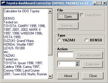 Программы для тюнинга (коррекция пробега панели), Toyota dashboard corrector v1.12