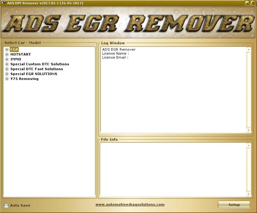 Программы для тюнинга (удаление кодов DTC), ADS EGR Remover 2017
