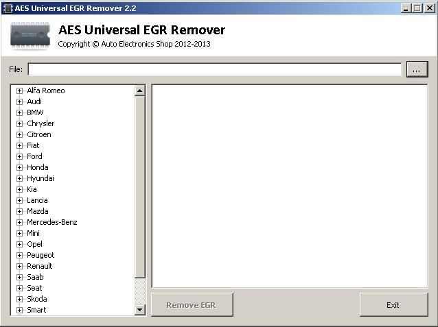 Программы для тюнинга (удаление кодов DTC), aes universal egr remover v22