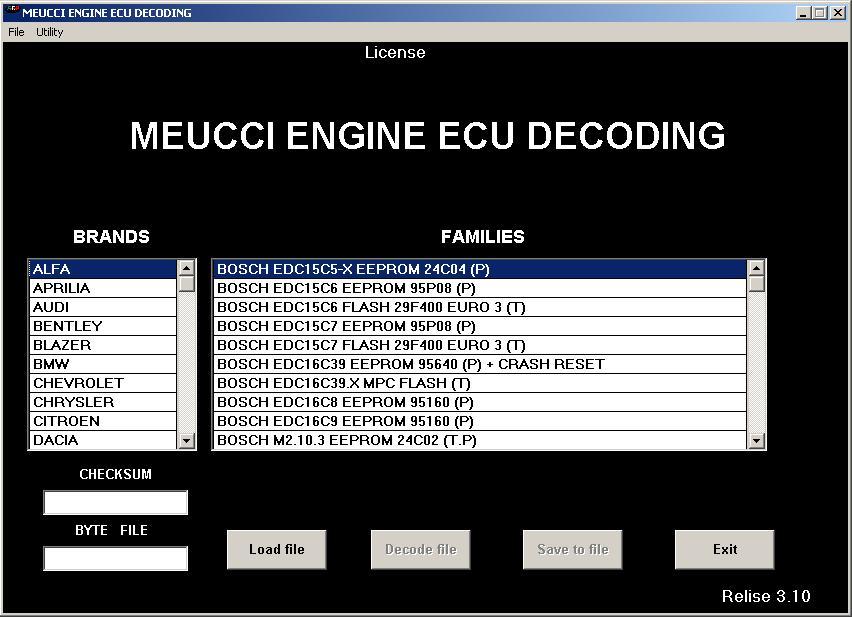 Программы для тюнинга (ремонт ЭБУ), meucci engine ecu decoding, рис. 2