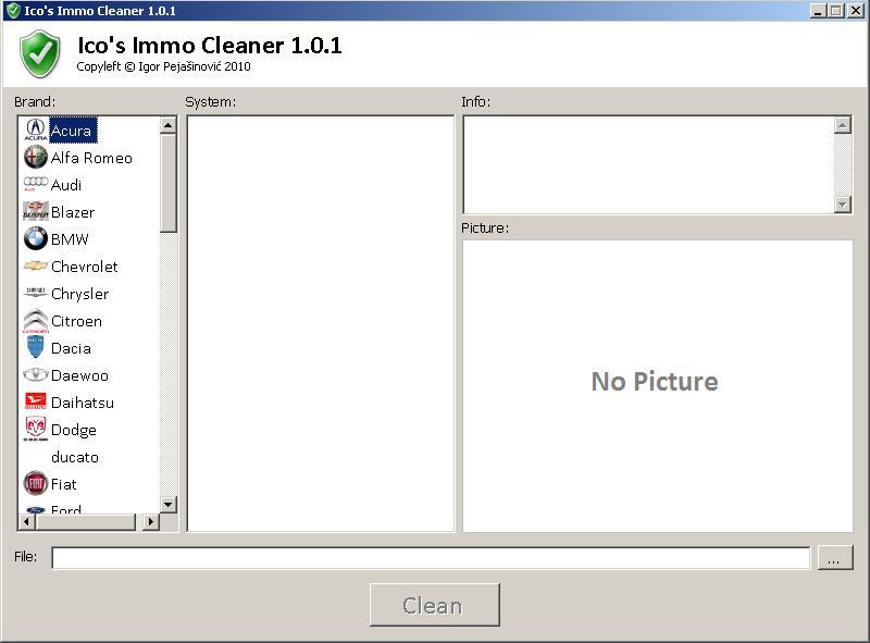 Программы для тюнинга (ключи / иммобилайзер), ico s immo cleaner v101