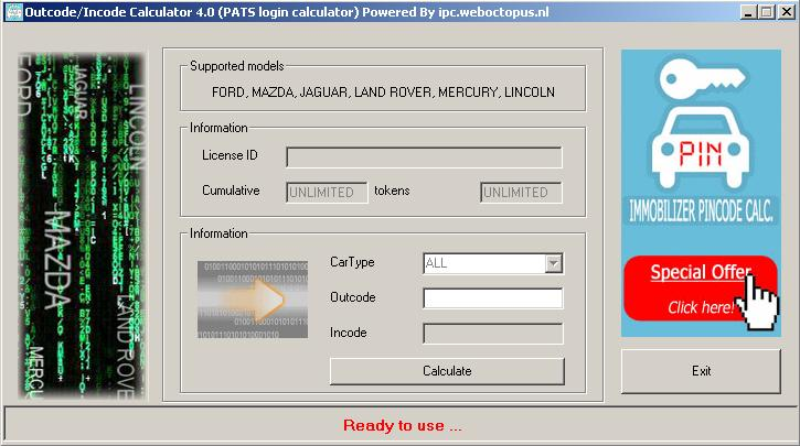 Программы для тюнинга (ключи / иммобилайзер), pats login calculator v40