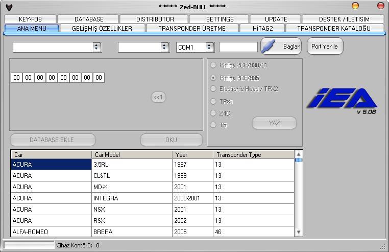 Программы для тюнинга (ключи / иммобилайзер), zed bull v506, рис. 1