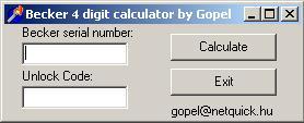 Программы для тюнинга (разблокировка кода радио), becker 4 digit calc