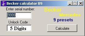 Программы для тюнинга (разблокировка кода радио), becker calculator b9 5 digit