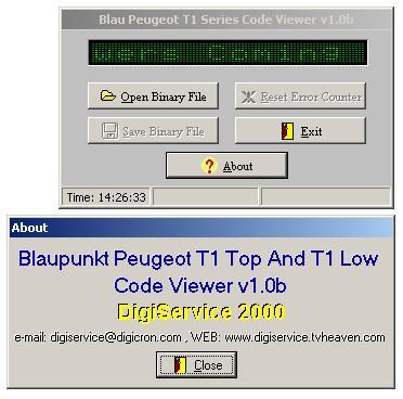 Программы для тюнинга (разблокировка кода радио), blau peugeot t1 series code viewer v10b