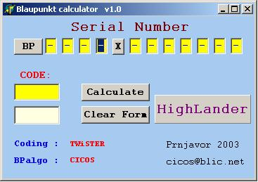 Программы для тюнинга (разблокировка кода радио), blaupunkt calculator v10