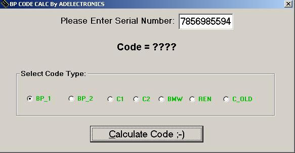 Программы для тюнинга (разблокировка кода радио), bp code calc adelectronics