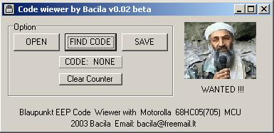 Программы для тюнинга (разблокировка кода радио), code wiewer by bacila v002 beta