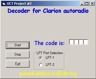Программы для тюнинга (разблокировка кода радио), clarion uct project 2 decoder autoradio