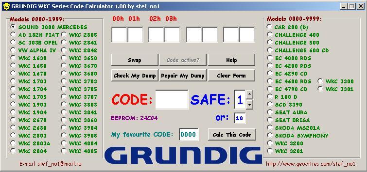Программы для тюнинга (разблокировка кода радио), grundig wks series code calculator v400