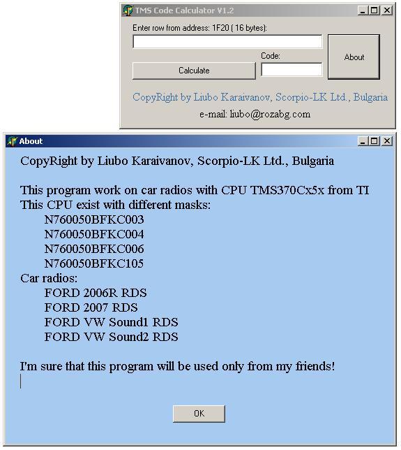 Программы для тюнинга (разблокировка кода радио), tms code calculator v12
