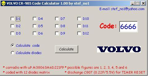 Программы для тюнинга (разблокировка кода радио), volvo cr 905 code calculator