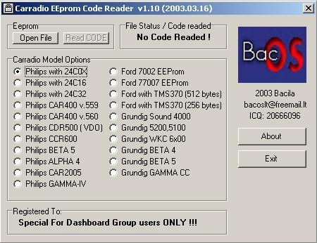 Программа для разблокировки кода радио, carradio eeprom code reader v110
