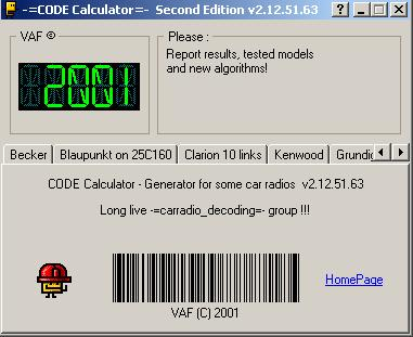 Программа для разблокировки кода радио, code calculator se v212 vaf, рис. 1