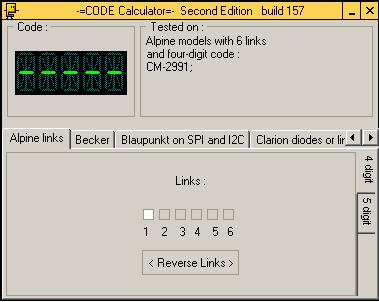 Программа для разблокировки кода радио Alpine, code calculator se v221 b157