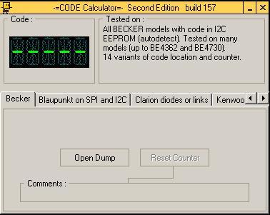 Программа для разблокировки кода радио Becker, code calculator se v221 b157