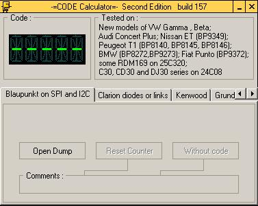 Программа для разблокировки кода радио Blaupunkt SPI / I2C, code calculator se v221 b157