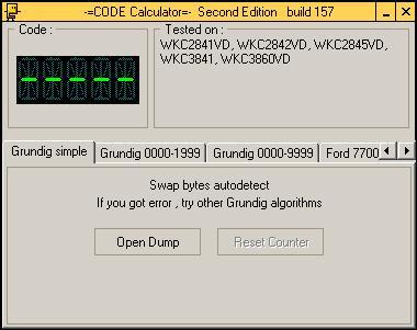 Программа для разблокировки кода радио Grundig, code calculator se v221 b157