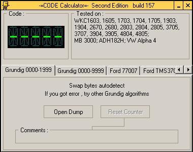 Программа для разблокировки кода радио Grundig 1999, code calculator se v221 b157
