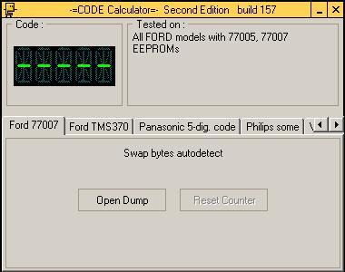 Программа для разблокировки кода радио Ford 77007, code calculator se v221 b157