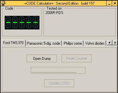 Программа для разблокировки кода радио Ford TMS370, code calculator se v221 b157