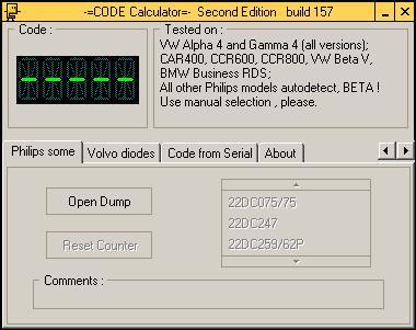 Программа для разблокировки кода радио Phillips, code calculator se v221 b157