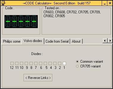 Программа для разблокировки кода радио Volvo Diode, code calculator se v221 b157