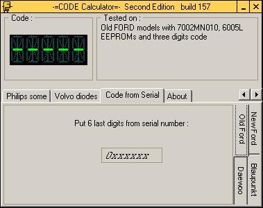 Программа для разблокировки кода радио по Serial / SN, code calculator se v221 b157