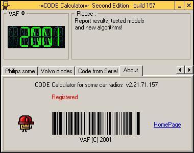 Программа для разблокировки кода радио, code calculator se v221 b157